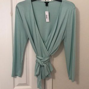J Crew light green Wrap and Tie Top